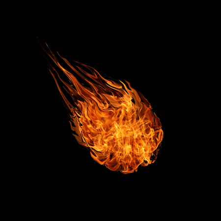 bola de fuego con espacio libre para el texto. aislado en el fondo negro Foto de archivo