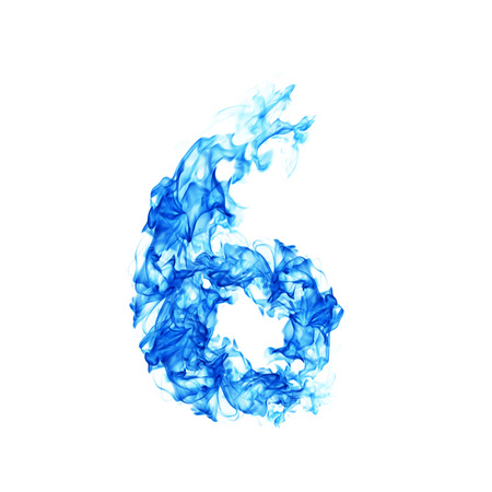 flamboyant: Fire blue number 6 Stock Photo