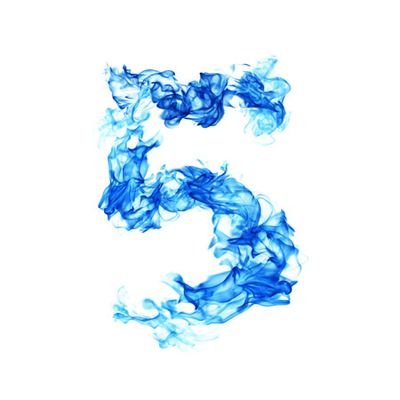 numero: Fire blue number 5
