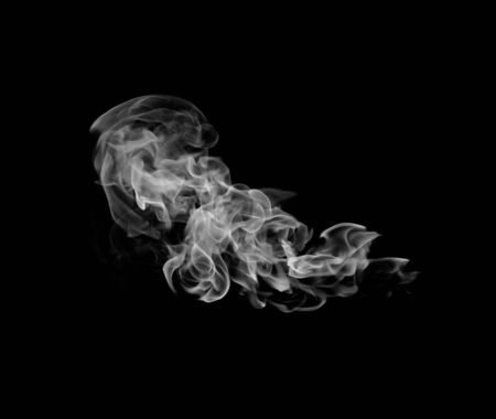 cigar shape: Movement of white smoke. Stock Photo