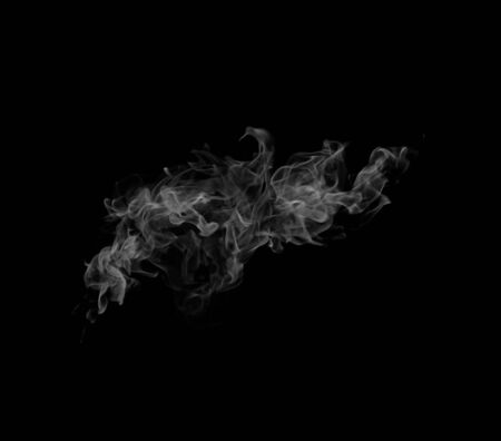 black silk: Movement of white smoke. Stock Photo