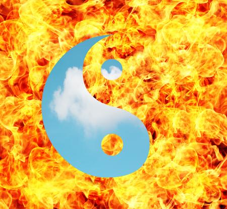 karma concept: Life balance concept with Ying yang symbol