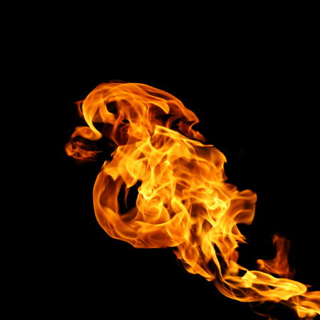 parch: Fire isolated on black background. Stock Photo