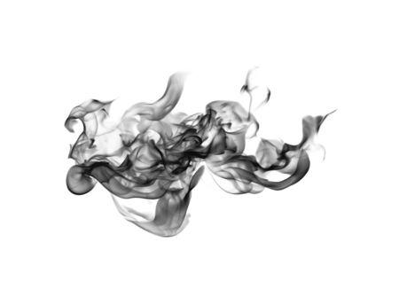 black smoke: Abstract black smoke swirls over white background Stock Photo