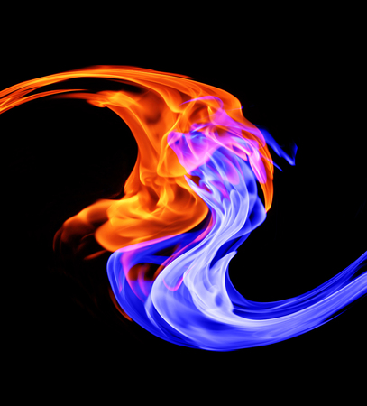 Yin-yang symbol, ice and fire Imagens