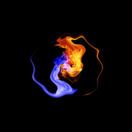 Yin-yang symbol, ice and fire Stock Photo