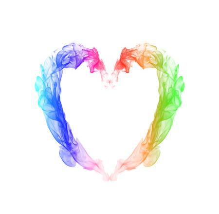 colorful heart: colorful heart smoke Stock Photo