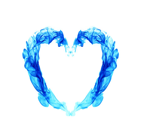 raging: Blue heart on fire Stock Photo
