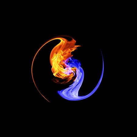 Yin-yang symbool, ijs en vuur Stockfoto