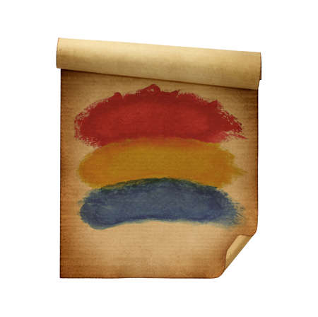 antiquities: Old colorful watercolor paper Stock Photo