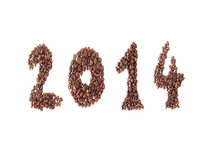 two thousand and fourteen: New year 2014 made from coffee beans on the white background Stock Photo