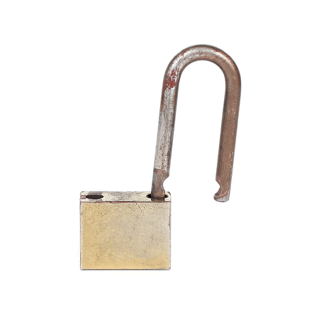 safekeeping: An isolated old and rusty chrome padlock Stock Photo