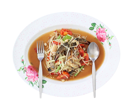 green papaya salad: som tam, green papaya salad, thai cuisine