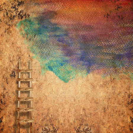 crack climb: weathered brick wall with wooden ladder background