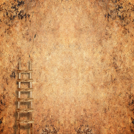 backstairs: weathered brick wall with wooden ladder background
