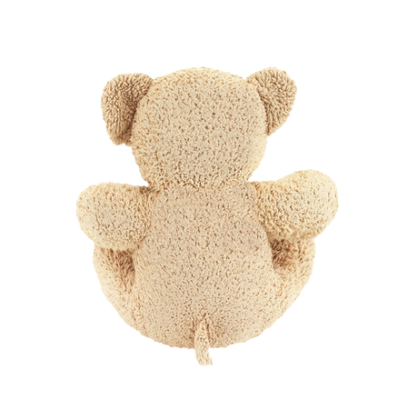 patched: Old patched brown teddy bear isolated on white