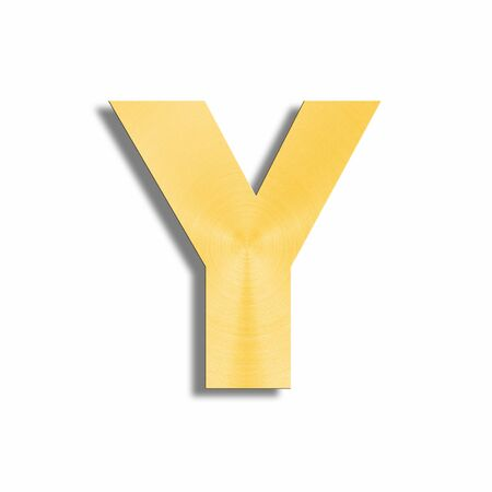oblique line: 3d rendering of the letter Y in gold metal on a white isolated background.