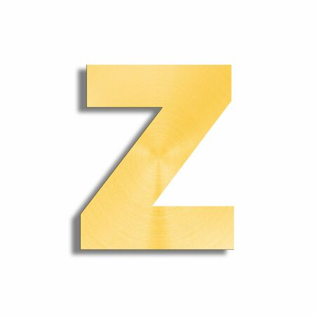 oblique line: 3d rendering of the letter Z in gold metal on a white isolated background.