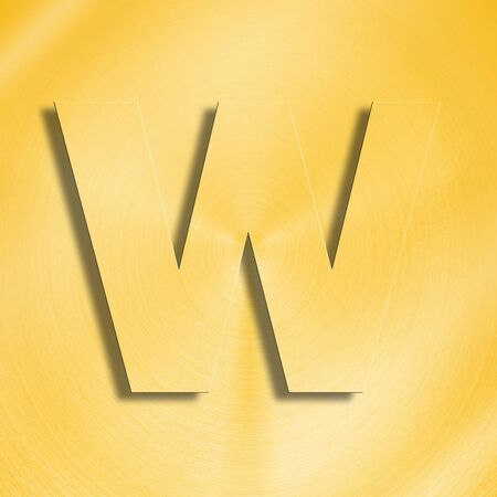 metalic sheet: 3d rendering of the letter W in gold metal on a golden isolated background.