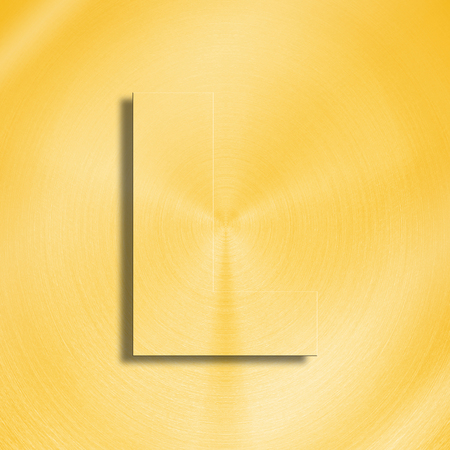 oblique line: 3d rendering of the letter L in gold metal on a golden isolated background. Stock Photo