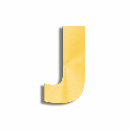 oblique line: 3d rendering of the letter J in gold metal on a white isolated background.