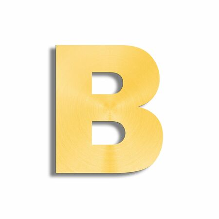 oblique line: 3d rendering of the letter B in gold metal on a white isolated background.