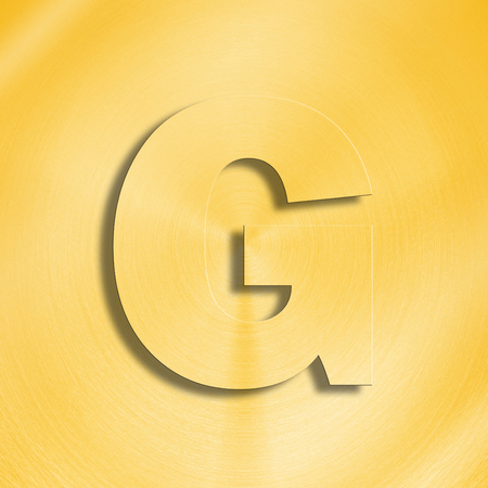 oblique line: 3d rendering of the letter G in gold metal on a golden isolated background.
