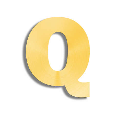 metalic design: 3d rendering of the letter Q in gold metal on a white isolated background.