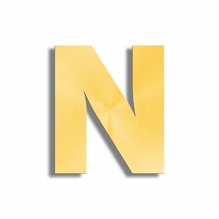 metalic sheet: 3d rendering of the letter N in gold metal on a white isolated background. Stock Photo