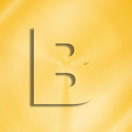 oblique line: 3d rendering of the letter B in gold metal on a golden isolated background.