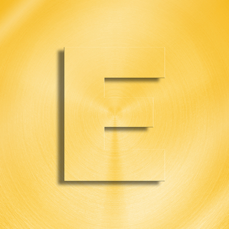 oblique line: 3d rendering of the letter E in gold metal on a golden isolated background.