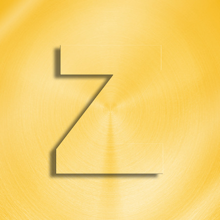 oblique line: 3d rendering of the letter Z in gold metal on a golden isolated background.