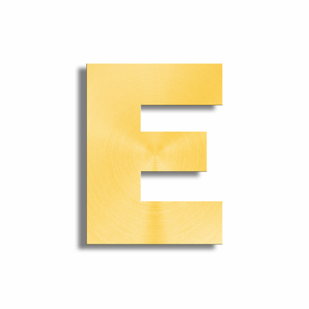 oblique line: 3d rendering of the letter E in gold metal on a white isolated background.