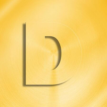 oblique line: 3d rendering of the letter D in gold metal on a golden isolated background.