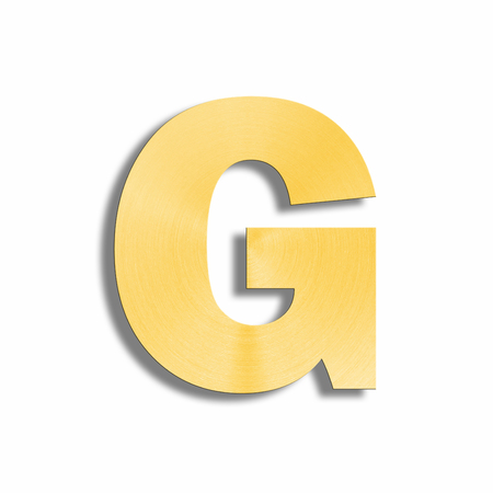 oblique line: 3d rendering of the letter G in gold metal on a white isolated background.