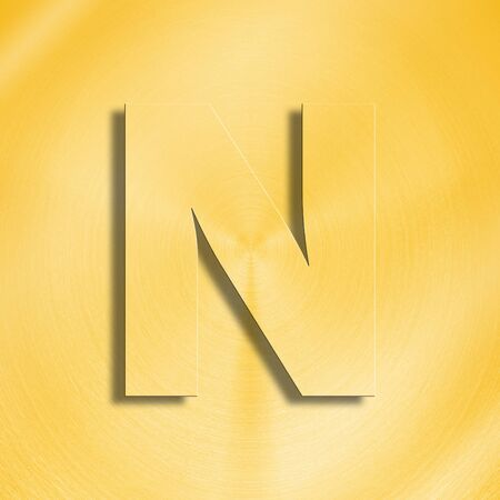 metalic design: 3d rendering of the letter N in gold metal on a golden isolated background.