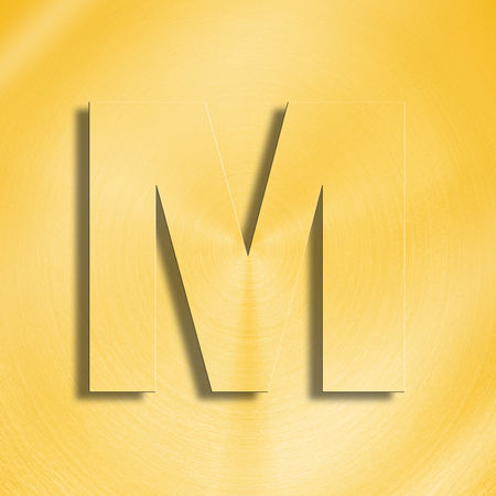 metalic sheet: 3d rendering of the letter M in gold metal on a golden isolated background. Stock Photo