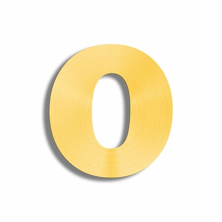 oblique line: 3d rendering of the letter O in gold metal on a white isolated background.