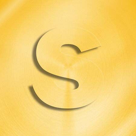 oblique line: 3d rendering of the letter S in gold metal on a golden isolated background.