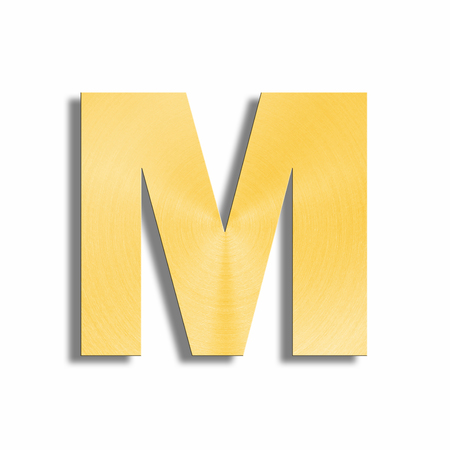 oblique line: 3d rendering of the letter M in gold metal on a white isolated background.