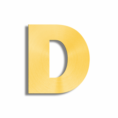 oblique line: 3d rendering of the letter D in gold metal on a white isolated background. Stock Photo