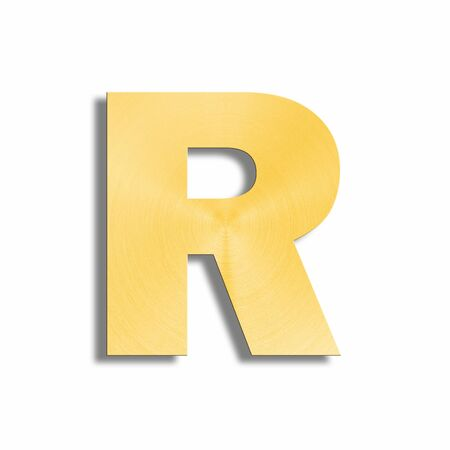 oblique line: 3d rendering of the letter R in gold metal on a white isolated background.