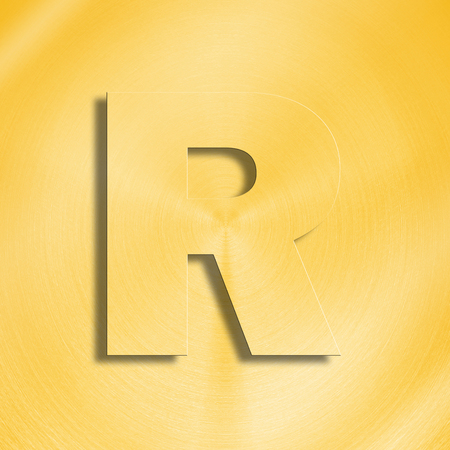 oblique line: 3d rendering of the letter R in gold metal on a golden isolated background. Stock Photo
