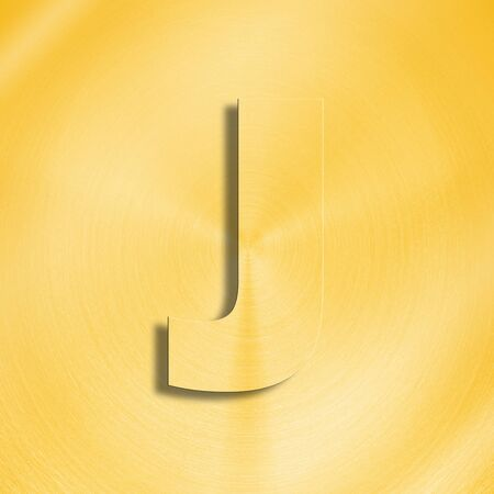 oblique line: 3d rendering of the letter J in gold metal on a golden isolated background. Stock Photo