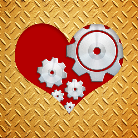 metal plate with love shape Stock Photo