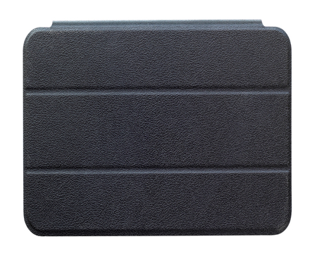 computer case: Black leather tablet computer case on a white background Stock Photo
