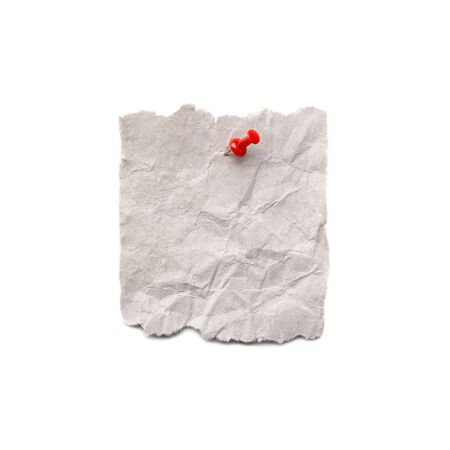 close up of a note paper with push pin on white background with clipping path Stock Photo