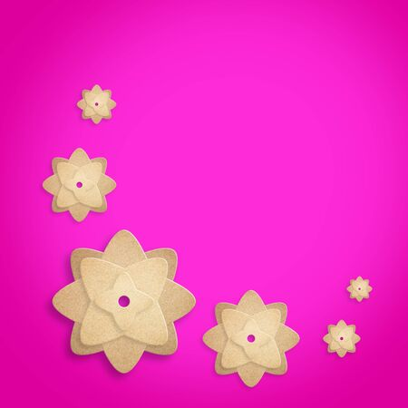 paper flowers on pink background.