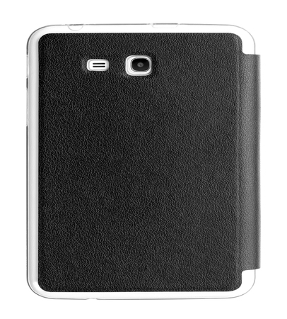 Black leather tablet computer case on a white background Stock Photo