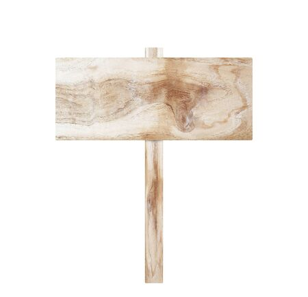 Wooden sign on pole. Stock Photo